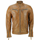 Mens Biker Retro Style Tan Brown Real Leather Casual Fitted Jacket Zipped Pocket