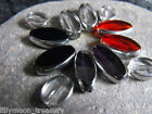 GLASS BEADS SILVER electroplated red black purple clear 20x8mm 12x10mm