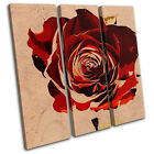 Abstract Rose Love Floral TREBLE CANVAS WALL ART Picture Print VA