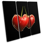 Cherries Hearts Love Food Kitchen TREBLE CANVAS WALL ART Picture Print VA
