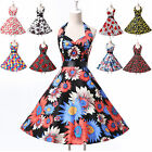 US Clearance ! 50s 60s Floral Halter Dress Rockabilly Swing Vintage Pinup Retro