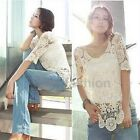 10 Colors Womens Boho Crochet Knit Lace Flower Hollow Out Tee Shirt Blouse Tops