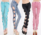 Cool Hot Womens Slim Fit Side Hollow Bowknot Skinny Jeans Pants Trousers XXS-M
