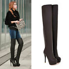 Free P&P Womens Over Knee Boots Party Stilettos Shoes Slim High Heels Long Boots