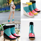 Womens/girls rain boots patent leather Stitching color wedge heel shoes New