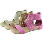 Women Comfy Casual Studded Strappy Gladiator Criss Cross Flats Sandal