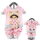 2pcs Baby Girl Toddler Suit Infant Cartoon Doll Bear Two-way Outfit Velvet Set
