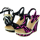 Women Sexy Espadrille Sandals High Heel Platform Zebra Ankle Strap Wedge Shoes