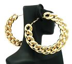 "NEW CELEBRITY STYLE LINK CHAIN DESIGN 3.5"" HOOP FASHION EARRINGS - JE3012"