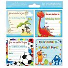 16 x Birthday Invitation cards four assorted designs-ideal for any parties