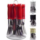 Premier Housewares Loop Cutlery Set with Stand, 24pc Red and White