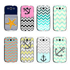 Turquoise Green Chevron with Anchor Hard Print Case For Samsung Galaxy s3 s4 s5