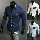 Men's Stylish Hit Color Casual Slim Fit Formal Long-sleeved Shirts Business Tops