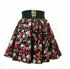 Retro Vintage Womens High Waist Elastic Flared Skater Gathered Skirt
