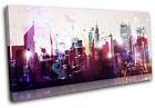 Cityscape Abstract City SINGLE CANVAS WALL ART Picture Print VA