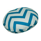 le03n Turquoise Off White Zig Zag Cotton Canvas Round Cushion Cover/Pillow Case