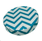 le03r Turquoise Off White Zig Zag Cotton Canvas 3D Round Cushion Cover Custom