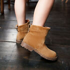 Womens Girls Classic Faux Suede Motorcycle Boots Low Heels Ankle Riding Boots