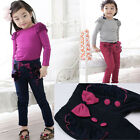 New Girl Toddler Kids Fashion Bowknot Trousers Pants Flouncing Cotton Pants 2-7Y
