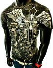 NEW MENS BLACK GRAPHIC UFC MMA CROSS BIRDS WINGS ANGEL ROYALTY CROWN T-SHIRT