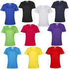 New AWDis Womens Short Sleeve Ladies Casual V Neck Basic Top Tshirt Size XS-XXL