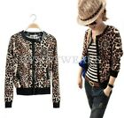 Womens Leopard Print Zipper Round Neck Long Sleeves Short Jacket Outwears HUK