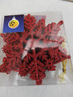 XMAS GLITTER SNOWFLAKE TREE DECORATIONS - 12 Pk, Red/Gold/Pink or Green - 10cm