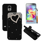 3D Rhinestone Heart PU Wallet Flip Stand Case Cover For Samsung Galaxy S5 i9600