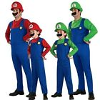 Super Mario Luigi Brothers Fancy Dress Plumber Game Costume Mens Boys Outfit