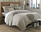 Queen Size White Grey Quilted Cotton Coverlet Bedspread Quilt Set K020