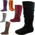 Women Round Toe Mid Calf Slouch Knee High Flat Heel Comfy Casual Cowboy Boots