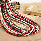 "Hot Plain Wood Beads Necklace 28"" Long Hip-Hop Long Rosary Beaded Necklace Chain"