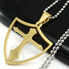 Men's Stainless Steel Gold Tone Hollow Cross in Shield Pendant with Necklace M16