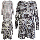 NEW WOMENS PRINTED LADIES JERSEY LONG SLEEVE SWING SKATER MINI DRESS SIZE 8-14