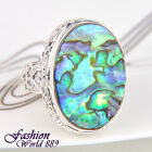 Vintage Excellent Handmade Abalone Shell Silver Plated Ring Jewelry Size 7,8,9