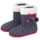 totes Birdseye Pattern Bootie Slippers with Pom Pom