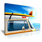 VAN Surf Board Summer Camping Canvas Framed Printed Wall Art - More Size
