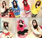 Fashion Womens Long Sleeves Bears Ears Design Zipper Casual Hoodie Coat MPH