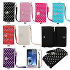 Pearl Wristlet PU Flip Wallet Case Cover For Samsung Galaxy S3 S4 i9300 i9500