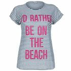 Blue Inc Woman Womens Blue And White Striped Graphic Print T-Shirt