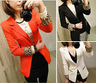 Shoulder Padded One Button Leopard Print Sleeve Opening Suit Jacket Blazer S TDL