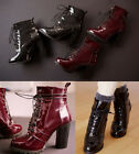 Womens Patent Leather Lace Up Block High Heel Ankle Boots Shoes Plus Size