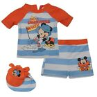BABY/TODDLER BOYS MICKEY MOUSE DISNEY SWIMMING SET TOP SHORTS CAP AGE 0-24 MONTH