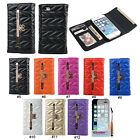 New Bowknot Upgrade Three Folds Wallet Flip Case Cover Skin For iPhone 5 5G 5S