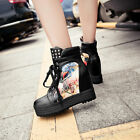 Womens Ankle Boots Hidden Wedge High Heel Lace Up Sneakers Floral Decor Shoes