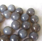6-8-10-12-14mm Natural Grey Agate Round Beads 15''