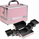Sunrise Pink Makeup Train Cosmetic Case Kit Box Bag w/ 6 Trays Organizer C0001