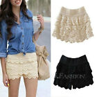 Sexy Korean Womens Girl Sweet Cute Crochet Tiered Lace Skorts Shorts Short Pants