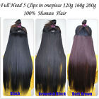 Full Head 5 Clips in Onepiece Real Human Hair Extension Weight 120g 160g 200g