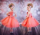 Coral Sequined Diamante Flower Girl Bridesmaid Dress Wedding Party Size 2-9y 304